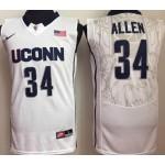 Uconn Huskies White #34 Allen jersey
