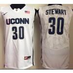 Uconn Huskies White #30 Stewart jersey