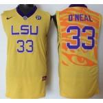 LSU Tigers Yellow #33 O'Neal jersey