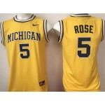Michigan Wolverines YELLOW #5 Rose jersey