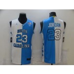 NCAAB North Carolina Tar Heels #23 Michael Jordan Black And White Split College Basketball Jersey