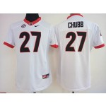 Womens Georgia Bulldogs White #27 Chubb jersey