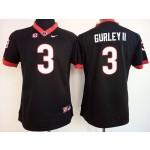 Womens Georgia Bulldogs Black #3 Gurley II jersey