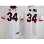 Womens Georgia Bulldogs White #34 Walker jersey