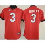 Womens Georgia Bulldogs Red #3  Gurley II jersey