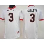Womens Georgia Bulldogs white #3  Gurley II jersey