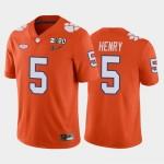 Men's Clemson Tigers #5 K.J. Henry Orange 2020 National Championship Game Jersey