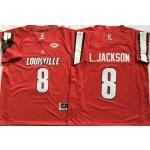 Louisville Cardinals #8 Lamar Jackson Red College Football Jersey