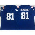 Florida Gators #81 Aaron Hernandez Blue Throwback College Football Jersey