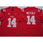 NCAA Ole Miss Rebels #14 METCALF Red 2021 Jersey