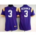 Womens LSU Tigers White #3 Beckham Jr. jersey