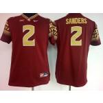 Womens Florida State Seminoles Red #2 Sanders jersey