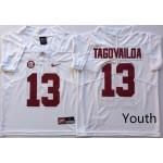 Youth Alabama Crimson Tide White #13 TAGOVAILOA