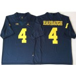 Michigan Wolverines Blue #4 HARBAUGH