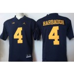 Youth Michigan Wolverines Harbaugh #4 Blue  jersey