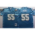 NFL San Diego Chargers Junior Seau #55 light blue throwback Jersey