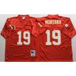 NFL Kansas City Chiefs Joe Montana #19 Red Throwback Jersey