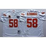 NFL Kansas City Chiefs D.Thomas #58 white Throwback Jersey
