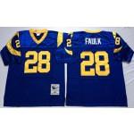 NFL St.Louis Rams Marshall Faulk #28 blue Throwback Jersey
