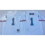 NFL Houston Oilers Warren Moon #1 White Throwback Jersey