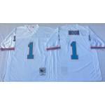 NFL Houston Oilers Warren Moon #1 White Throwback Jersey