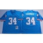 NFL Houston Oilers Earl Campbell #34 blue Throwback Jersey