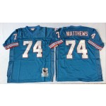 NFL Houston Oilers Bruce Matthews #74 blue Throwback Jersey