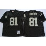 NFL Oakland Raiders T.Brown #81 black Throwback Jersey
