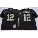 NFL Oakland Raiders Kenny Stabler #12 Black Throwback Jersey