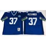NFL Seattle Seahawks Shaun Alexander #37 Blue Throwback Jersey