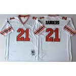 NFL Atlanta Falcons Deion Sanders #21 White 1989 Throwback Jersey
