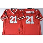 NFL Atlanta Falcons Deion Sanders #21 Red 1989 Throwback Jersey