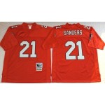 NFL Atlanta Falcons Deion Sanders #21 Red 1990 Throwback Jersey