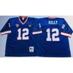 NFL Buffalo Bills Jim Kelly #12 Blue Throwback Jersey