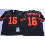 NFL San Francisco 49ers Joe Montana #16 Black Throwback Jersey