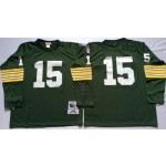 NFL Green Bay Packers Bart Starr #15 Green Throwback Long Sleeve Jersey