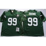 NFL Philadelphia Eagles Jerome Brown #99 Green Throwback Jersey