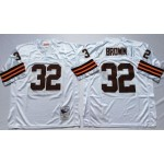 NFL Cleveland Browns Jim Brown #32 White Throwback Jersey
