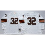 NFL Cleveland Browns Jim Brown #32 White without name Throwback Jersey