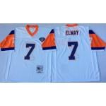 NFL Denver Broncos John Elway #7 White Throwback Jersey
