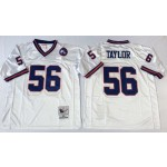 NFL New York Giants Lawrence Taylor #56 White Throwback Jersey