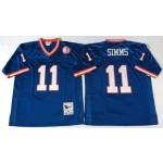 NFL New York Giants Phil Simms #11 blue Throwback Jersey
