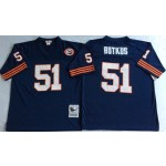 NFL Chicago Bears Dick Butkus #51 Blue with Big Number Throwback Jersey