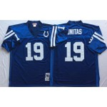 NFL Indianapolis Colts Johnny Unitas #19 blue with Colts Patch Throwback Jersey
