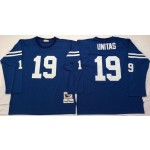 NFL Indianapolis Colts Johnny Unitas #19 blue Throwback Jersey