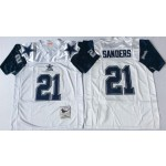 NFL Dallas Cowboys Deion Sanders #21 White 75th Throwback Jersey