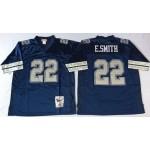 NFL Dallas Cowboys E.Smith #22 Navy Blue 1992 Throwback Jersey