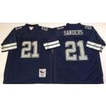 NFL Dallas Cowboys Deion Sanders #21 Navy Blue 1992 Throwback Jersey