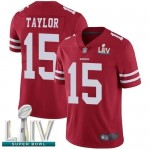 49ers #15 Trent Taylor Red Team Color Super Bowl LIV Bound Men's Stitched Football Vapor Untouchable Limited Jersey