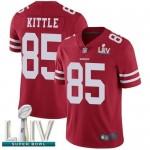 49ers #85 George Kittle Red Team Color Super Bowl LIV Bound Men's Stitched Football Vapor Untouchable Limited Jersey